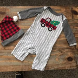 Baby Essentials Christmas Playsuit and hat set
